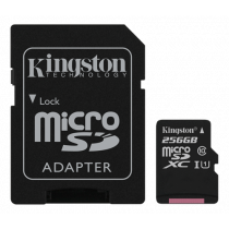 Memory card Kingston Canvas Select microSDXC, 256GB, Class 10 UHS-I, incl. SD card adapter, black SDCS/256GB / KING-2579