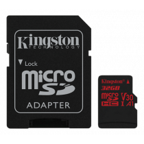 Kingston Canvas React microSDHC card, 32GB, incl. SD card adapter, black SDCR/32GB / KING-2609