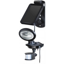 Sol 14 Plus, battery-powered outdoor light with motion sensor, solar charge, IP44, 85lm, (P) IR 180 ° detection angle with a range of up to 10m, 3m cable BRENNEN black / LED-1160