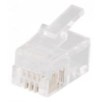 Modular connector RJ9/RJ10/RJ22 4P4C, 20-pack, transparent DELTACO / MD-1A