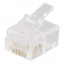 Modular connector RJ12, 6P6C, 20-pack, transparent DELTACO / MD-2A