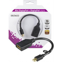 DELTACO DP adapter, Mini DP 20 pin for DP 20-pin ho with audio, Ultra HD in 30Hz, 0.2m, black  MDP-DP1-K