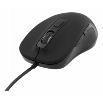 DELTACO Optically silent mouse, wired, ergonomic, soft-touch rubber, 800-1600 DPI, black / MS-761