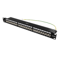 "DELTACO 19 ""patch panel, 24xRJ45, Cat6a, STP, 1U, 10Gbps, crown plinth, metal, black / PAN-200"