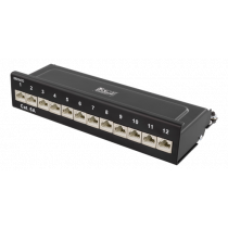 DELTACO Patch Panel, 12xRJ45, Cat6a, Wall Mountable, 10Gbps, Krone Terminals, Metal, Black / PAN-213