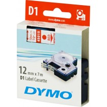 Tape DYMO D1 12mm x 7m, vinyl, red on white / S0720550 45015