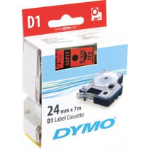 D1, brand tape, 24mm, black text on red tape, 7m - 53717 DYMO / S0720970