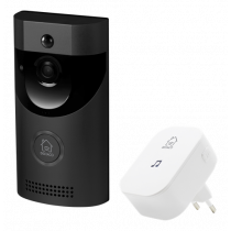 DELTACO SMART HOME doorbell with camera, WiFi, IP44, IR, black / SH-DB01