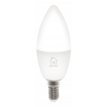 DELTACO SMART HOME LED lamp, E14, WiFI 2.4GHz, 5W, 470lm, dimmable, 2700K-6500K, 220-240V, white / SH-LE14W
