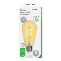 DELTACO SMART HOME Spiral LED filament lamp, E27, WiFI 2.4GHz, 5.5W, 470lm, dimmable, 1800K-6500K, 220-240V, white SH-LFE27ST64