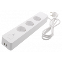 DELTACO SMART HOME power socket, WiFi 2.4GHz, 3xCEE 7/3, 2xUSB-A, 13A, 220-240V, 1.5m, white   SH-P03USB