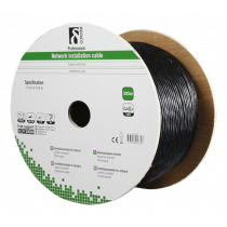 DELTACO S / FTP Cat6a installation cable, for outdoor use, 305m reel, 250MHz, Delta certified, black TP-53