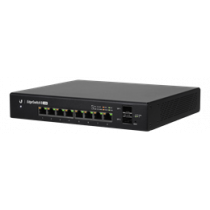 Ubiquiti EdgeSwitch 8 150W 802.3af / at Passive PoE Switch, PoE / PoE + or 24V Passive PoE, Black ES-8-150W / UBI-ES-8-150W