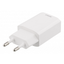 Phone charger DELTACO 100-240V, 2.4A, 1xUSB, white / USB-AC150