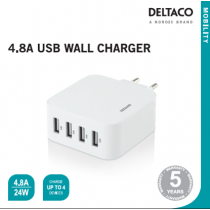 AC Charger DELTACO 4port 2,4A each white / USB-AC170
