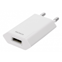 DELTACO USB wall charger, 1x USB-A, 1 A, 5 W, white / USB-AC173