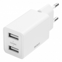 DELTACO USB wall charger, 2x USB-A, 2,4 A, total 12 W, white / USB-AC174