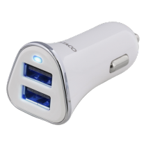 Car charger DELTACO 3,4A, 2xUSB, white/silver / USB-CAR101