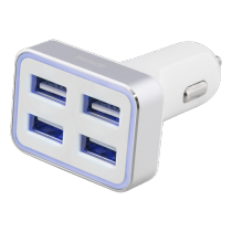 Car charger DELTACO 6,8A, 4xUSB, white/silver / USB-CAR103