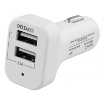 Car Charger DELTACO, 12-24V, 2.1A 10W, 2xUSB-A, white / USB-CAR121