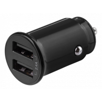 DELTACO 12/24 V USB car charger with compact size and dual USB-A ports, 2.4 A, 12 W, black USB-CAR124