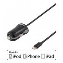 Car charger DELTACO, 1m, black / USB-CAR201