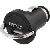 Car charger DELTACO 1.2A, black / USB-CAR6