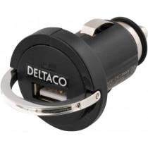 Car charger DELTACO 1.2A, black / USB-CAR6
