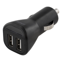 Car charger DELTACO, 2.4A, 2xUSB, black / USB-CAR95