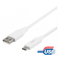 Cable DELTACO USB 2.0, Type C - Type A male, 1.5m, white / USBC-1010M