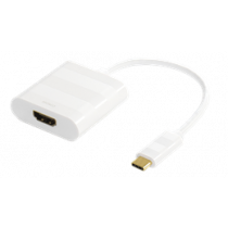 DELTACO USB-C to HDMI adapter, USB Type C male - HDMI 19 pin female, 4K, Ultra HD, white / USBC-1097