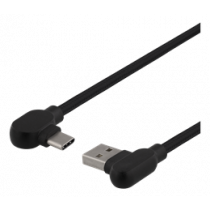 Angled USB-A to angled USB-C cable, 1m, 3A, USB 2.0, braided, black DELTACO / USBC-1180V
