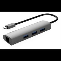 Winstar 3 port USB Hub with Ethernet port, USB 3.1 Gen1, USB Type C ha, 3xUSB Type A ho, aluminum, black / USBC-1209