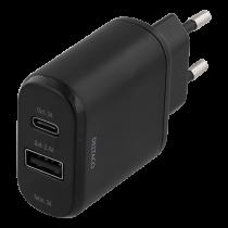 Wall charger DELTACO 230V to 5V USB, 3A 15W, 1xUSB-C, 1xUSB-a, black  / USBC-AC104