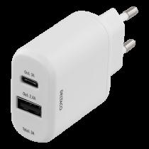 Wall charger DELTACO 230V to 5V USB, 3A 15W, 1xUSB-C, 1xUSB-A, white / USBC-AC106