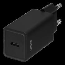 DELTACO USB wall charger, 1x USB-C PD, 18 W, black USBC-AC132