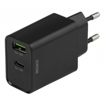 DELTACO Dual USB wall charger with PD, 1x USB-A, 1x USB-C, 18 W, black / USBC-AC135