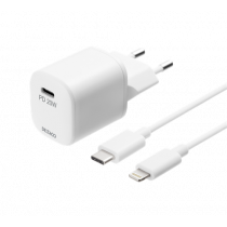 DELTACO USB wall charger, USB-C, PD 20 W, including 1 m C to Lightning USBC-AC141