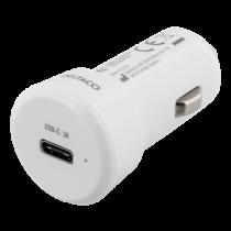Car charger DELTACO 3A, 1xUSB-C, white / USBC-CAR107
