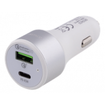 Car Charger DELTACO  USB-C, 63W, USB-C PD, QC 3.0, 12-18V DC, White/USBC-CAR115