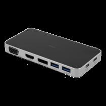 DELTACO USB-C docking station, 3x USB-C, 2x USB-A 3.1, VGA, HDMI, Black USBC-HUB107