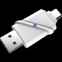Micro SD card reader DELTACOIMP USB3.1 Type-C/A Gen 1, 5 Gbps, silver / USBC-MSD