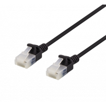 DELTACO U/UTP Cat6a patch cable, slim, 3.5mm in diameter, 0.5m, 500MHz, black / UUTP-1017