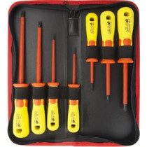 Screwdriver kit, 7 parts, track and star chisels, individually tested to withstand 1000V DELTACOIMP red/yellow  / VK-260