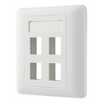 Flush mount for Keystone, 4 ports DELTACO white / VR-228