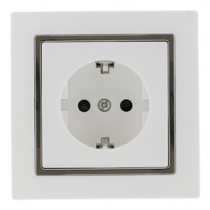 1-way socket EPZI grounded, white / VR-6006