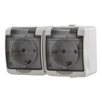 2-way socket EPZI IP54, gray / VR-6013