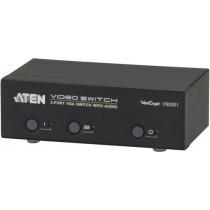 ATEN VGA-Switch 2 computers for 1 screen, 1x HD-15 ho, 2x HD-15 ha, 3x 3.5mm stereo, RS232, black VS0201