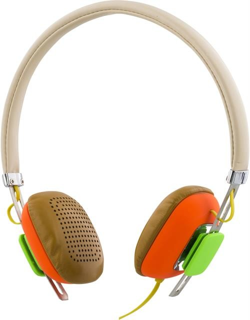 Headphones STREETZ, with microphone, white/orange / HL-263