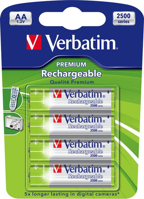 Rechargeable Batteries Verbatim AA (LR06), Ni-MH, 2500mAh, 1.2V / V49941